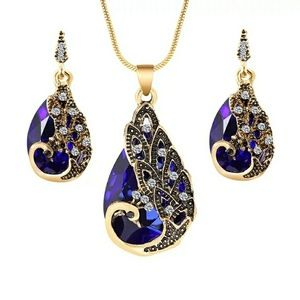 Royal Blue Peacock Necklace